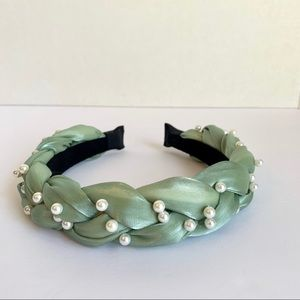 Mint Green Braided Headband with Pearl Detail